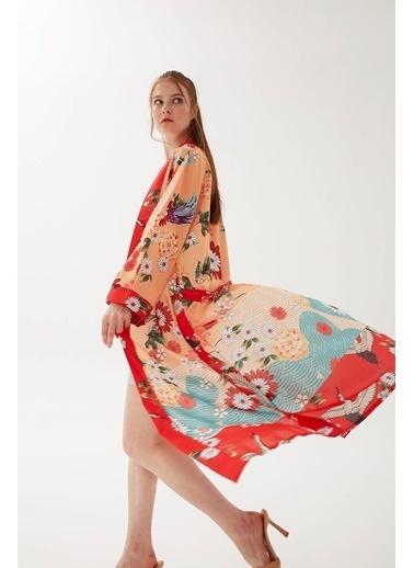 Modaset Uzun Kuşaklı Kimono Turuncu Oranj